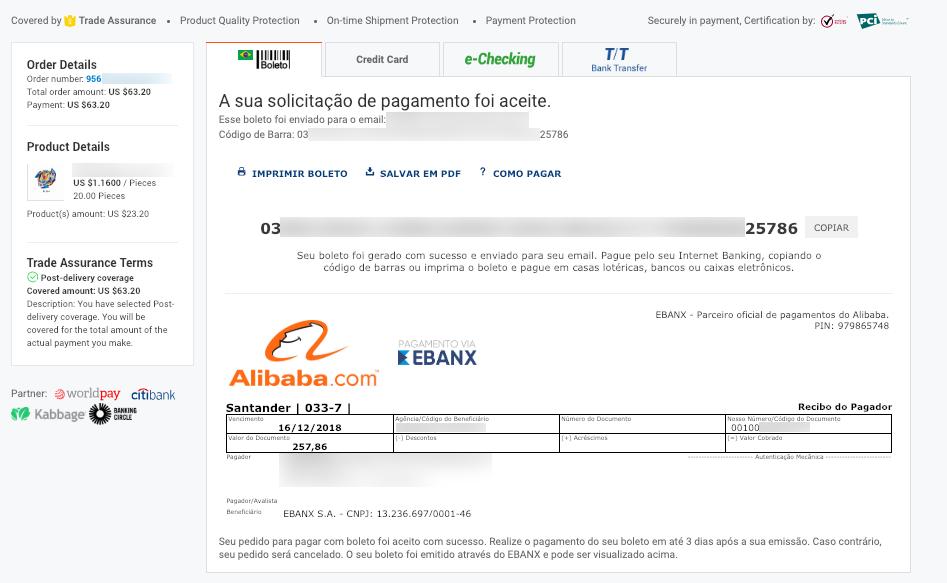 Alibaba boleto