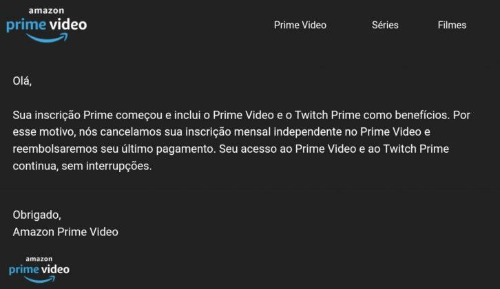 Email da Amazon para clientes sobre o lançamento do Amazon Prime