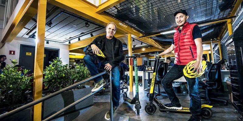 Marcelo Loureiro, cofundador e CEO da Grin e cofundador da Grow Mobility Inc. _Ariel Lambrecht ( blusa vermelha), cofundador da Yellow e diretor global de produtos da Grow Mobility Inc. Grow (Yellow + Grin) Foto: Germano Lüders 07/02/2019