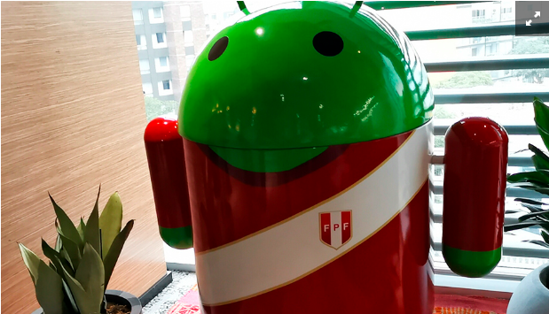 The Android robot wearing Peru's shirt