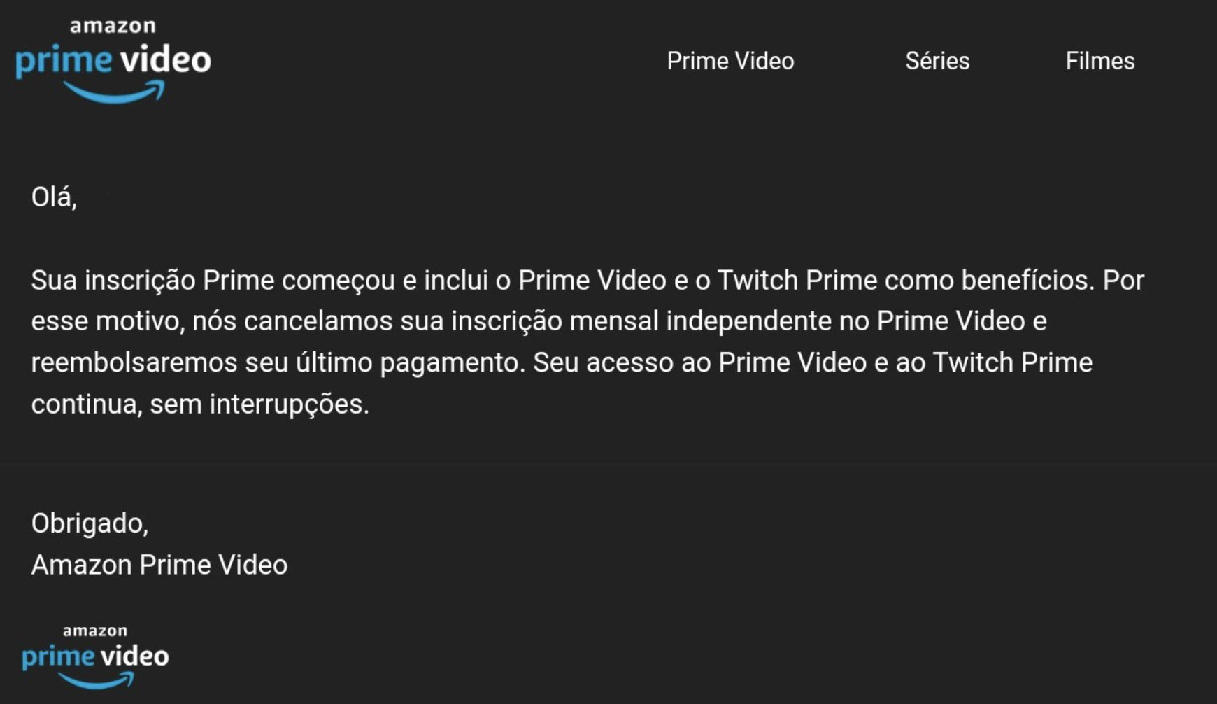 Email about Amazon Prime for Brazilian consumers