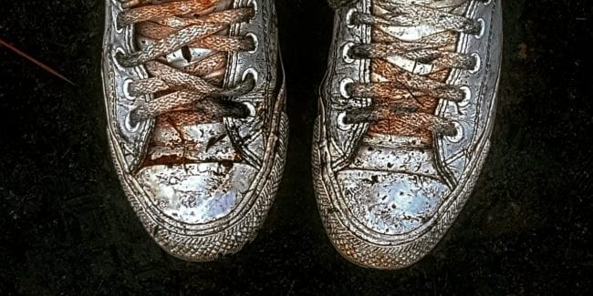 Journalist Gabriela Antunes's soot-soaked sneakers from the fire