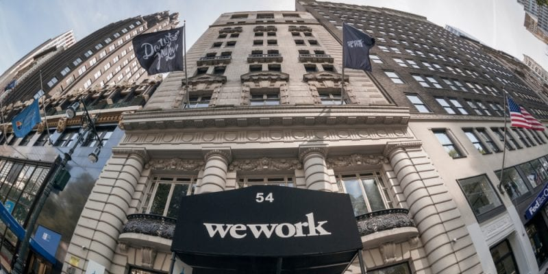 The entrance to a WeWork co-working space location in the Bryant Park area in New York.
