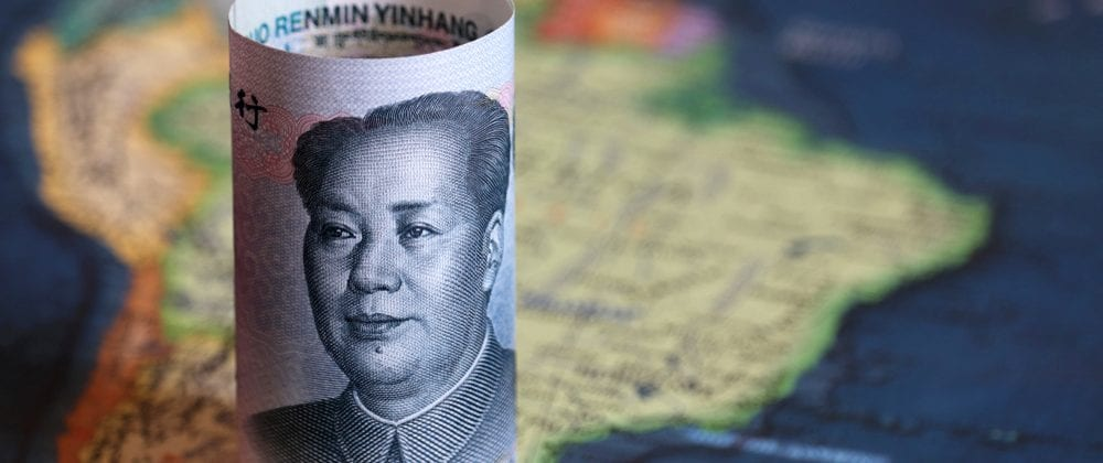 Chinese yuan on the map of South America.