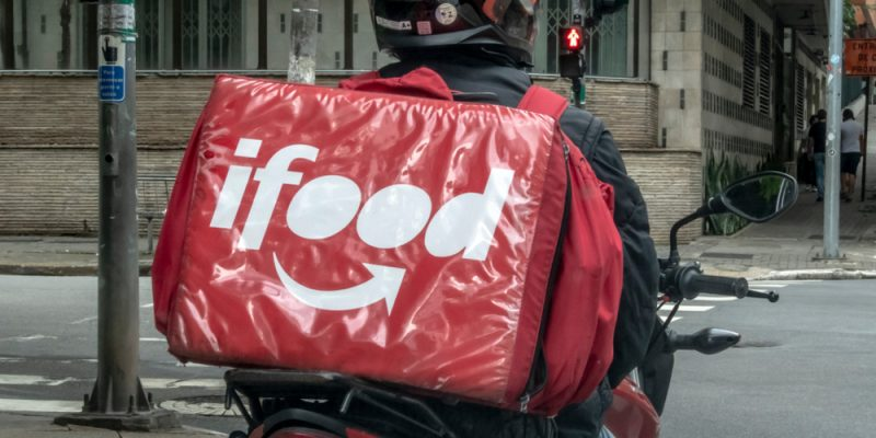 Sao Paulo, Brazil, December 01, 2018. worker ifood on the motorcycle delivers food to customers in Sao Paulo city.
