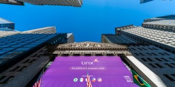 The New York Stock Exchange in Lower Manhattan in New York is decorated with a banner for the Linx initial public offering