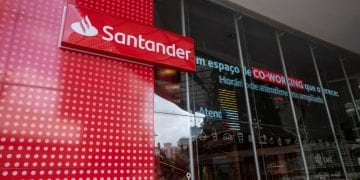 Sao Paulo, Brazil - december 29 2019 - Logo of Santander, a Spanish multinational commercial bank and financial services company founded in 1857