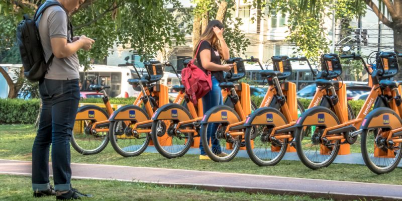 Tembici' bike station in Sao Paulo