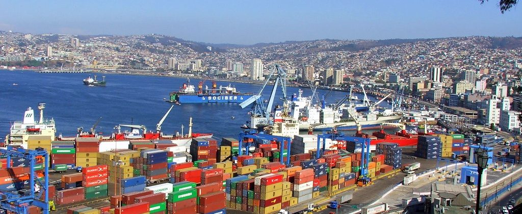 Containers in Port of Valparaiso in Chile