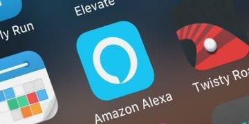 London, United Kingdom - October 01, 2018: Close-up shot of AMZN Mobile LLC's popular app Amazon Alexa.