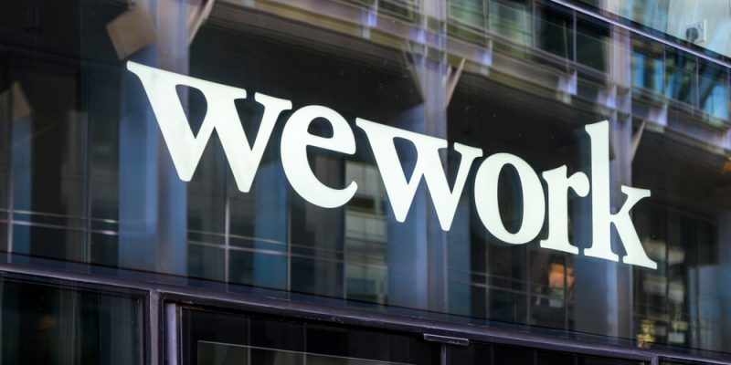 London, United Kingdom - September 21, 2019: A view of the Wework co-sharing office spaces on Bishopsgate street In London