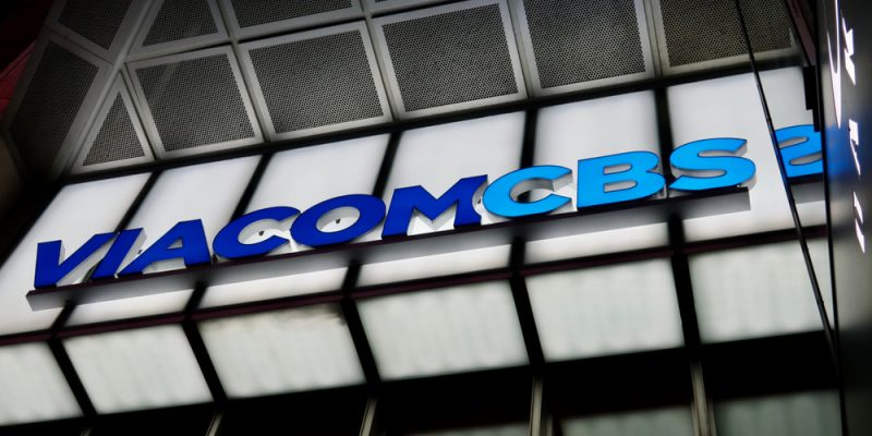 NEW YORK - DECEMBER 12, 2019: VIACOMCBS brand logo sign at headquarters building entrance at Times Square