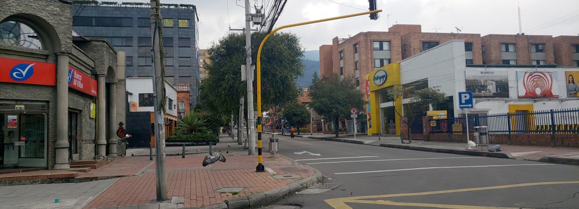 Empty streets in the city of Bogotá, Colombia.