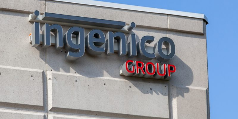Payments company Ingenico logo in office wall