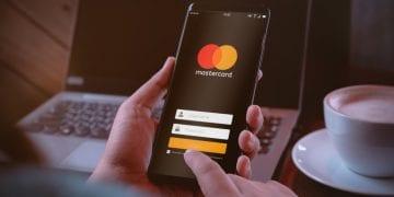 Mastercard logo on a smartphone
