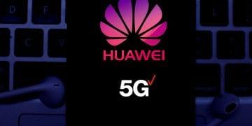 Huawei 5G logo on a smartphone screen