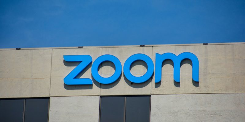 Zoom sign and logo is displayed on startup headquarters in Silicon Valley.