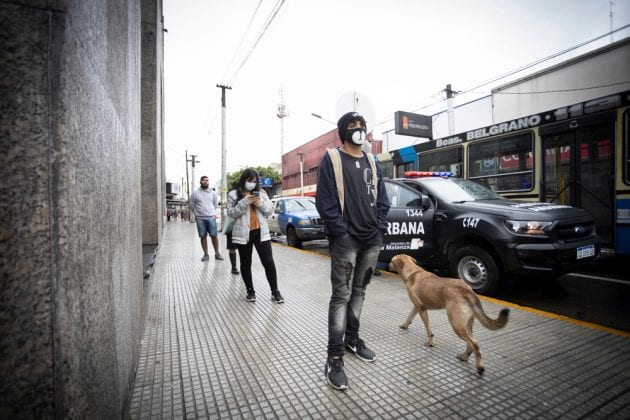 Unidentified people with masks against covid19 in Bueno Aires