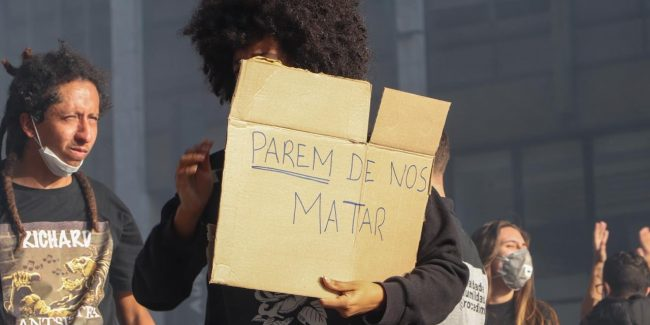 protest pro democracy and antiracist in Sao Paulo