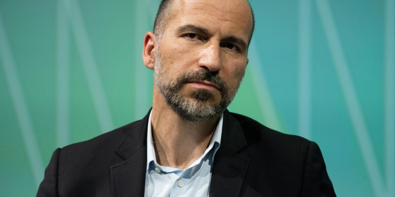 Uber's CEO Dara Khosrowshahi in a conference in 2018