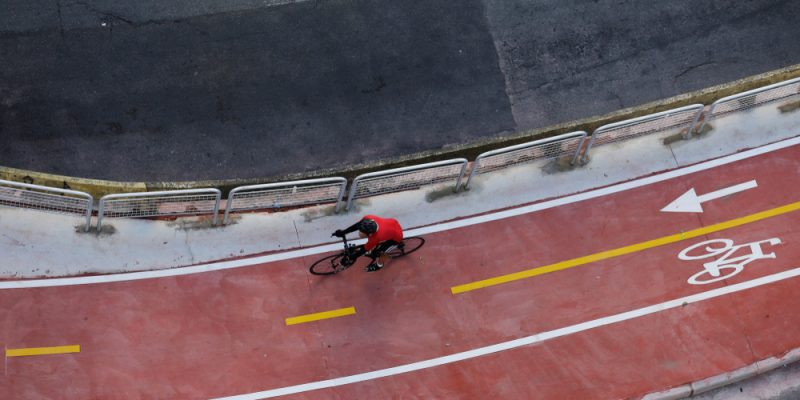 Excerpt of the cycle lane on Avenida Paulista, in São Paulo.