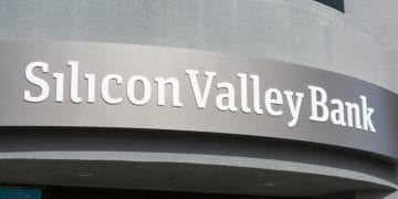 Silicon Valley Bank logo at high-tech commercial bank headquarters in South San Francisco Bay area